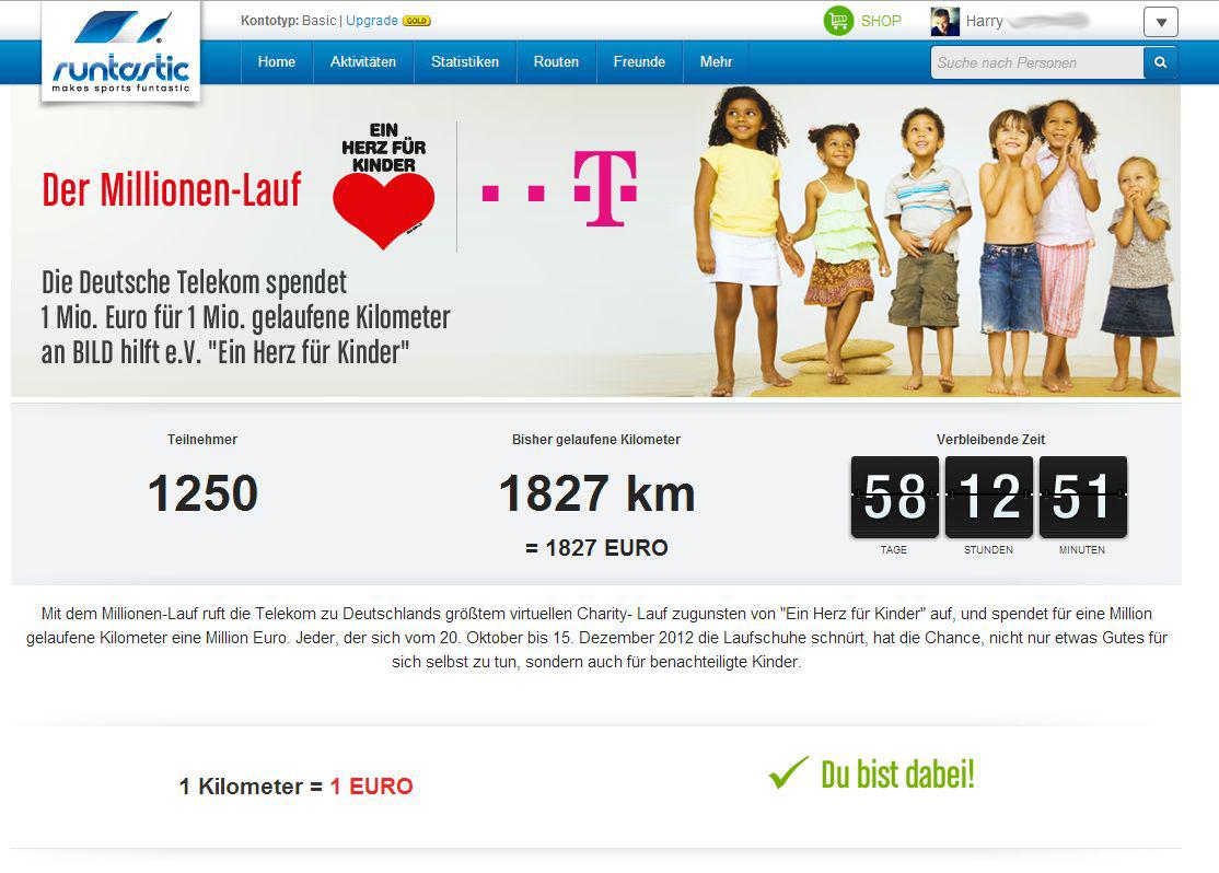runtastic – Der  Millionen-Lauf & Ein Herz für Kinder